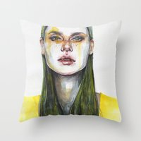 yellow Throw Pillows featuring yellow lemongrass by agnes-cecile