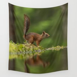 Red squirrel reflection Wall Tapestry