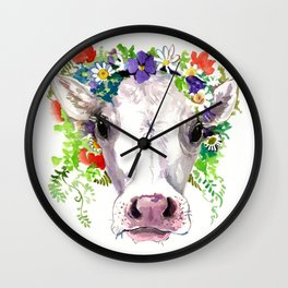 Cow and Flowers, Cow head floral Farm cattle head famr animals Wall Clock