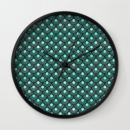 Mermaid Scales in Metallic Turquoise Wall Clock