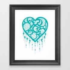 Heart-Catcher Teal Framed Art Print
