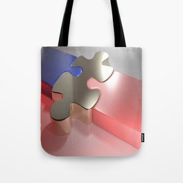 Golden puzzle joins blue and pink puzzle pieces - 3D rendering Tote Bag
