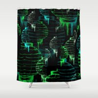 lantern Shower Curtains featuring Lantern - green by Emma Stein