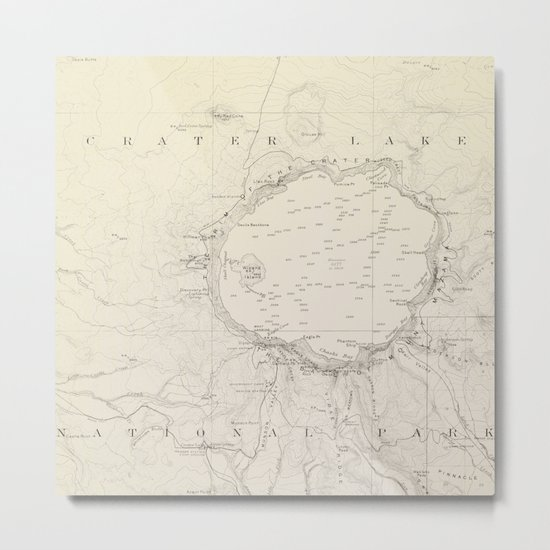 Crater Lake Vintage Map Metal Print