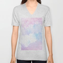 Sky Fall Dream Pastel Glitch - pink and blue Unisex V-Neck