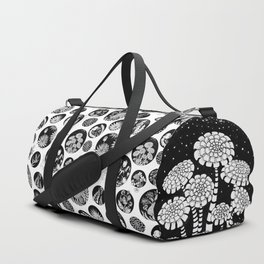 Flowers pattern ink art black and white Duffle Bag