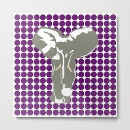 African Violet Safari Dot with Pop Art Elephant Metal Print