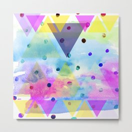 Pinkish triangles and dots Metal Print