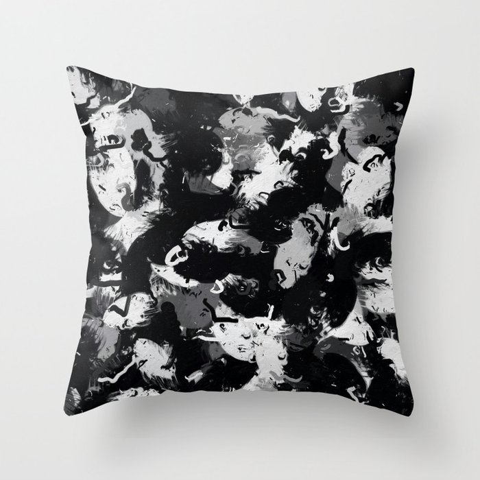 Shades of Gray and Black Oils #1979 Throw Pillow