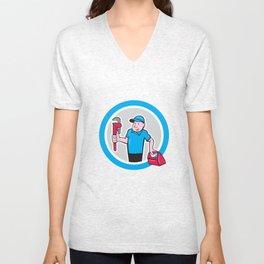 Plumber With Monkey Wrench Toolbox Cartoon Unisex V-Neck