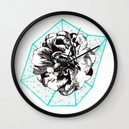 Teal + Flower Wall Clock
