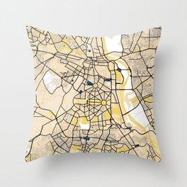 New Delhi Yellow City Map Throw Pillow