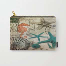 french botanical art seahorse teal green starfish Carry-All Pouch