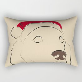 Christmas time, red hat, santa hat, santa dog Rectangular Pillow
