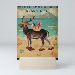 Beach Life Sandy Toes White-tailed deer gift Mini Art Print