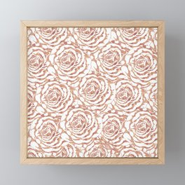 Elegant romantic rose gold roses pattern image Framed Mini Art Print