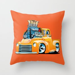 American Classic Hotrod Pickup Truck Cartoon Throw Pillow