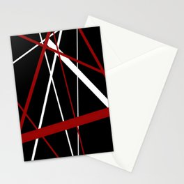 Red and White Stripes on A Black Background Stationery Cards