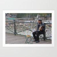 Parisian Busker Art Print