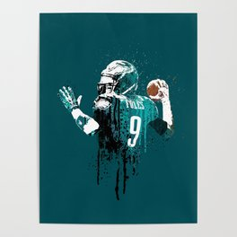 AMERICAN FOOTBALL PLAYER #on GREEN #eagles #NICK FOLES Poster