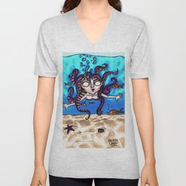 Octopus Hair Unisex V-Neck