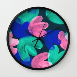 Vibrant Acrylic Painting Layered Tulips Floral Pattern Multi Colors Green Pink Blue Large Brush Wall Clock