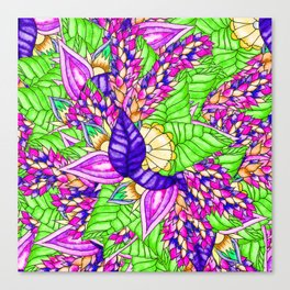 Bright purple green floral pattern waercolor illustration Canvas Print