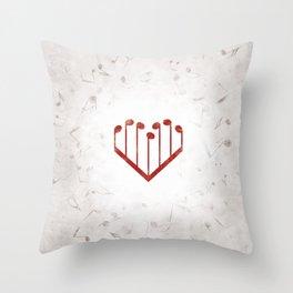 Music Heart gray Throw Pillow