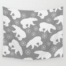 Polar bears and Snowflakes - gray Wall Tapestry
