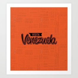 Venezuela - Lettering Design with orange background Art Print