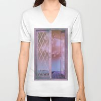 shabby chic V-neck T-shirts featuring Lavender Fields in Window Shabby Chic original art by Glimmersmith