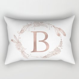 Letter B Rose Gold Pink Initial Monogram Rectangular Pillow