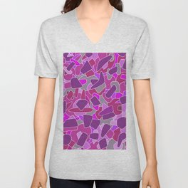purple shapes Unisex V-Neck