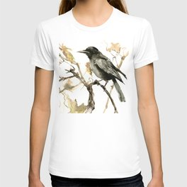 Crow in the Fall, Tribal Crow Raven art T-shirt