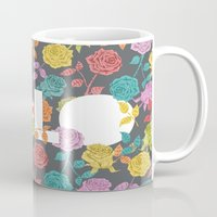 bjork Mugs featuring //  YOU ONLY LIVE ONCE  by Bianca Green