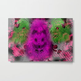 Grape Gorilla Man (abstract, psychedelc, op art, halftone) Metal Print
