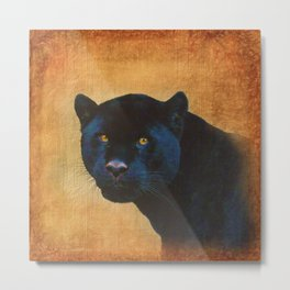 Black Jaguar in Portrait Metal Print