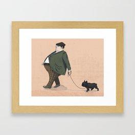 A Man with a Dog Framed Art Print