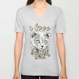 i love cat scottish fold T-shirt Unisex V-Neck