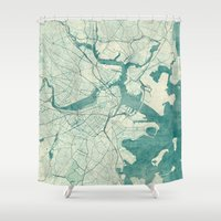 boston Shower Curtains featuring Boston Map Blue Vintage by City Art Posters