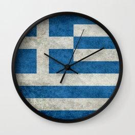 Greek Flag - vintage retro style Wall Clock
