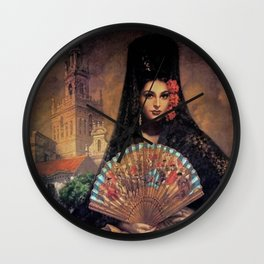 Woman of Mexico with fan portrait painting by Jesus Helguera Wall Clock