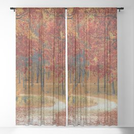Red Autumn Sheer Curtain