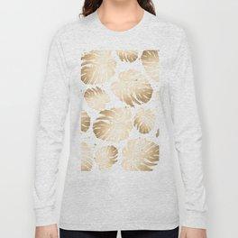 Gold Monstera Leaves Long Sleeve T-shirt