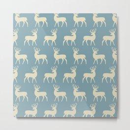 Mid Century Modern Deer Pattern Venetian Blue and Tan Metal Print