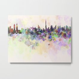 Dubai skyline in watercolor background Metal Print