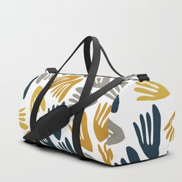 Papier Découpé Modern Abstract Cutout Pattern in Light and Dark Mustard, Navy Blue, Gray, and White  Duffle Bag