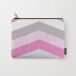 Pink and gray chevron Carry-All Pouch