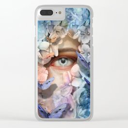 """Waiting for spring among blue flowers"" Clear iPhone Case"