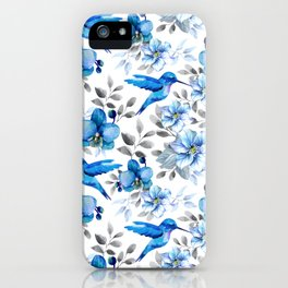 Orchids and Hummingbirds Pattern iPhone Case